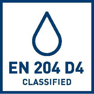 EN 204 D4 veekindluse klassifikatsioon